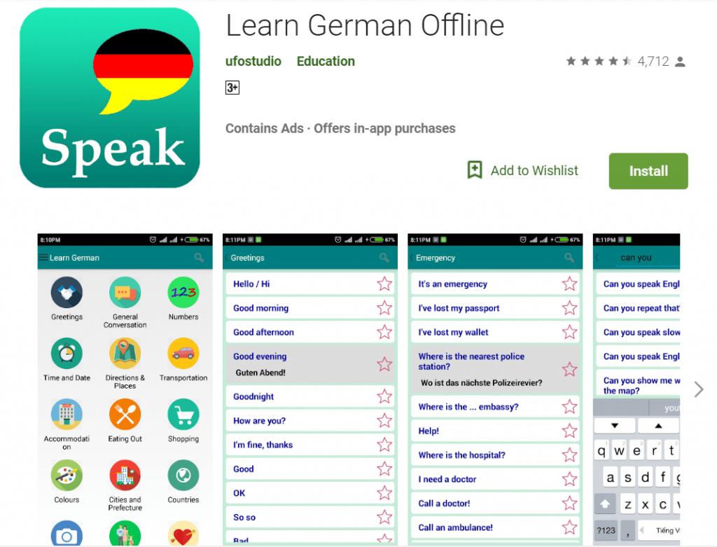 german learning app - learn german offline